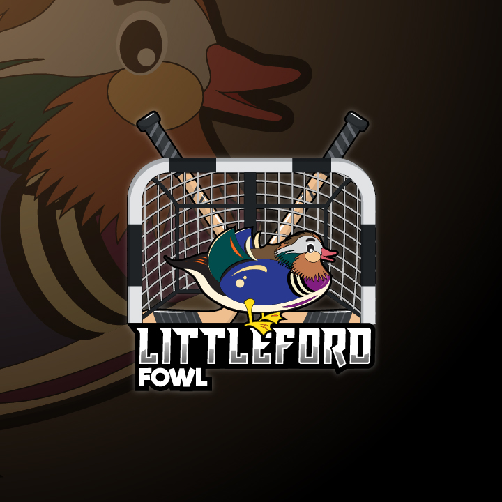 logo for Littleford Fowl. Full colorful duck inside net with hockey sticks, the net is realistic looking and the duck is cartoonish. Set on a background of a zoomed in image of the duck with brown overlay tones.